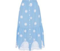 Adrienn guipure lace-paneled cotton midi skirt
