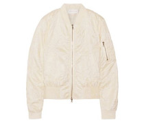 Ruffle-trimmed matelassé bomber jacket