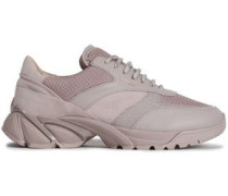 Leather, Suede And Mesh Sneakers Pastel Pink