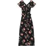 Floral-print Cotton-poplin Midi Dress Black Size 00
