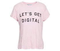 Flocked Cotton-jersey T-shirt Pastel Pink