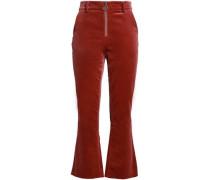 Cotton-blend Velvet Bootcut Pants Tan Size 0