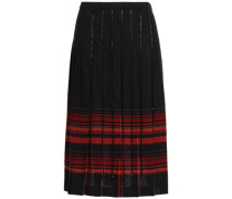 Woman Pleated Bead-embellished Checked Wool Skirt Black
