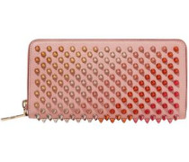 Woman Panettone Spiked Textured-leather Continental Wallet Blush