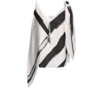 Draped printed silk-twill top