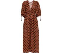 Woman Shirred Polka-dot Linen Midi Dress Light Brown
