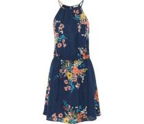 Floral-print silk crepe de chine mini dress