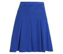 Pleated stretch cotton-blend twill mini skirt