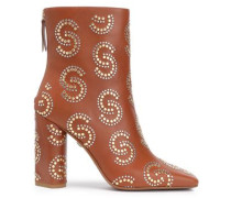 Studded Leather Ankle Boots Light Brown