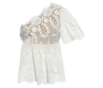 Eleanor One-shoulder Cotton Guipure Lace Top White