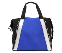 Metallic Leather-trimmed Scuba Gym Bag Cobalt Blue Size --