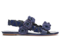 Fringed eyelet-embellished patent-leather sandals