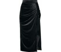 Ruched Crushed-velvet Midi Skirt Black