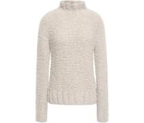 Bouclé-knit Cashmere Turtleneck Sweater Off-white