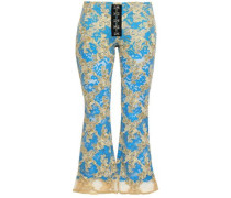 Appliquéd Corded Lace And Tulle Kick Flare Pants Gold