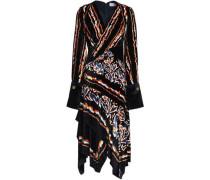 Asymmetric wrap-effect printed velvet dress