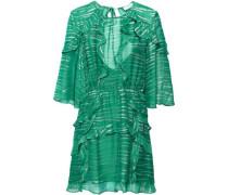 Eorie Ruffled Metallic Jacquard Mini Dress Green