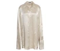 Crushed-satin Shirt Light Gray
