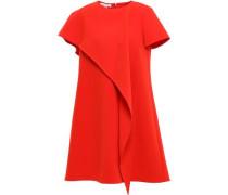 Woman Layered Draped Crepe Mini Dress Red