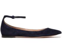 Vivian Suede Point-toe Flats Midnight Blue