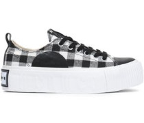 Plimsoll Leather-trimmed Gingham Canvas Platform Sneakers Black