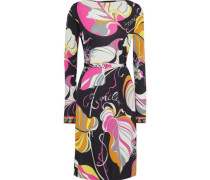 Woman Belted Printed Jersey Dress Black