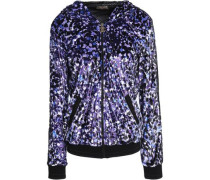 Grosgrain-trimmed printed chenille hooded jacket
