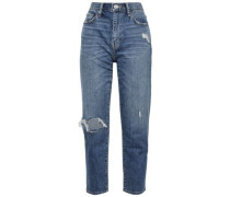 Cropped Distressed High-rise Slim-leg Jeans Mid Denim  4