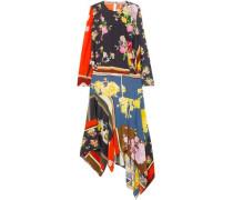Kara Asymmetric Printed Crepe De Chine Midi Dress Multicolor