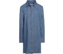 Pleated denim mini dress