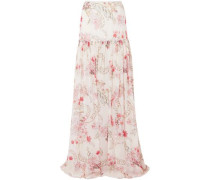 Floral-print Silk-chiffon Maxi Skirt Ivory