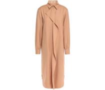 Woman Ruffled Wool And Cashmere-blend Twill Shirt Dress Sand