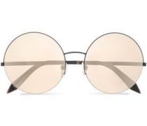 Supra round-frame gunmetal-tone mirrored sunglasses