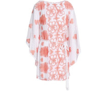 Claudia Belted Crocheted Cotton Coverup Coral