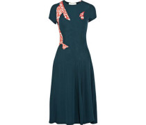 Printed knitted midi dress