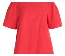 Off-the-shoulder cotton-poplin top