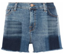 Patchwork-effect frayed denim shorts