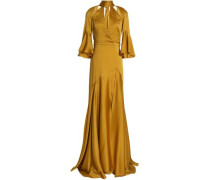Fluted cutout satin-crepe gown