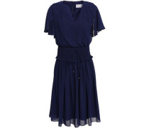 Smocked Georgette Dress Navy