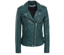 Han Metallic Textured-leather Biker Jacket Emerald