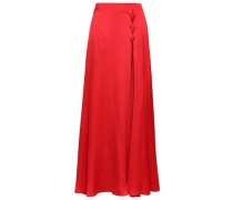 Lace-up Hammered Silk-satin Maxi Skirt Red