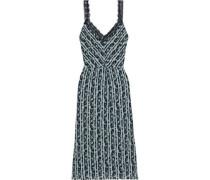 Woman Lace-trimmed Printed Crepe De Chine Midi Dress Light Blue