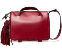 Tasseled Leather Shoulder Bag Claret Size --