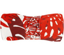 Tonga macramé-paneled printed bandeau bikini top