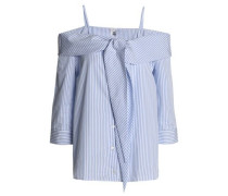 Cold-shoulder striped cotton-poplin top