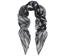 Printed cotton-blend scarf