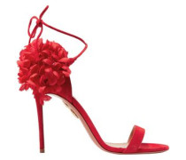 Floral-appliquéd Suede Sandals Red