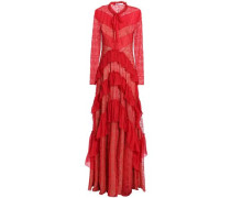 Pussy-bow voile-paneled tiered Chantilly lace gown