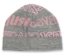 Intarsia-knit Beanie Gray Size ONESIZE
