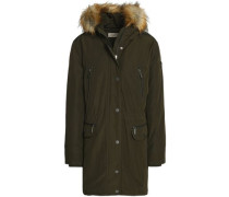 Faux Fur-trimmed Shell Hooded Down Coat Army Green
